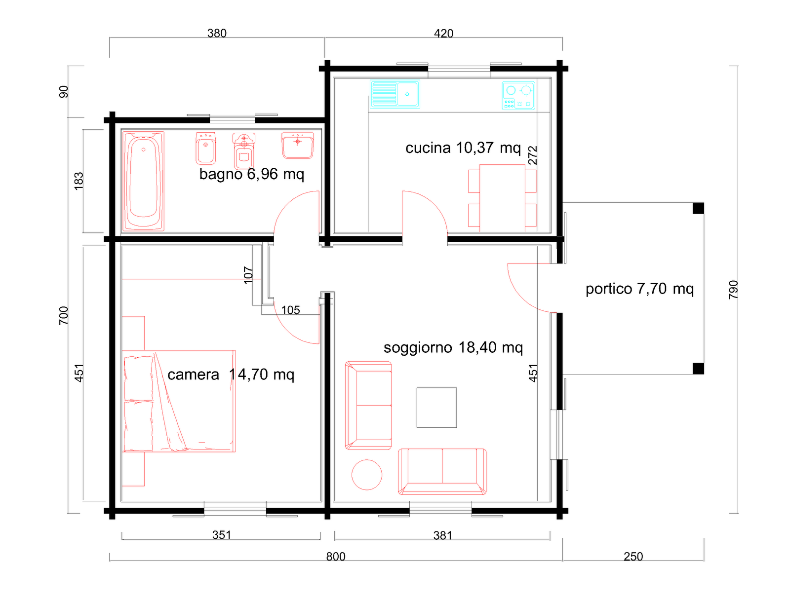 Progetto 70 mq planimetria quotata with progetto 70 mq for 6 piani di casa con 4 bagni