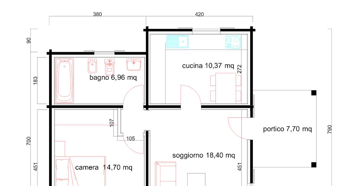 Progetti di case in legno casa 60 mq portico 8 mq for Progetti di portico anteriore