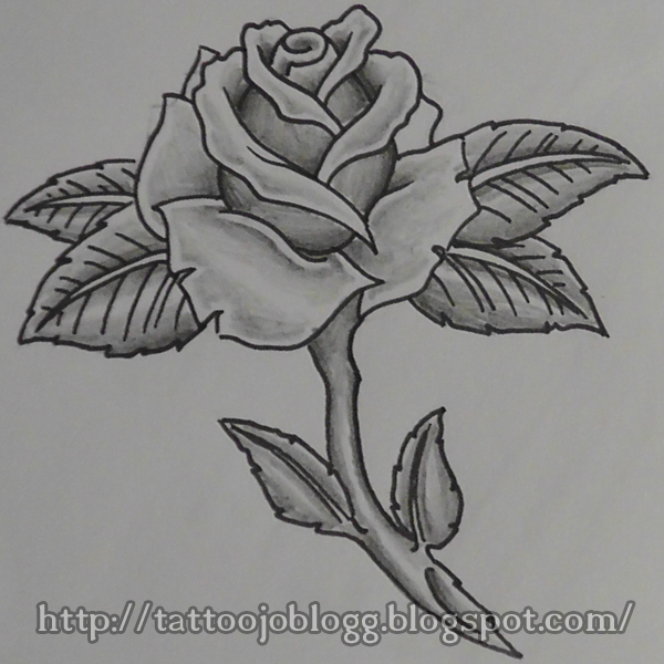 Tattoojos blogg tutorials and artwork how to draw a simple rose add shading to the rose leafs and stam ccuart Image collections