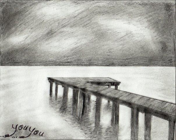 ف ن الر س م كيفية رسم منظر طبيعي بقلم الرصاص على شاطىء البحر