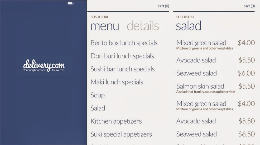 Track Restaurants and Place Order by Windows Phone: Delivery.com Mobile App