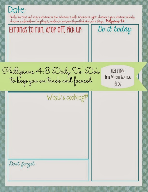 Free Daily Planner Printable from Trip Worth Taking