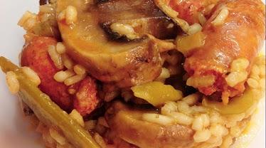 Receta : Arroz picante con verduras y salchichas