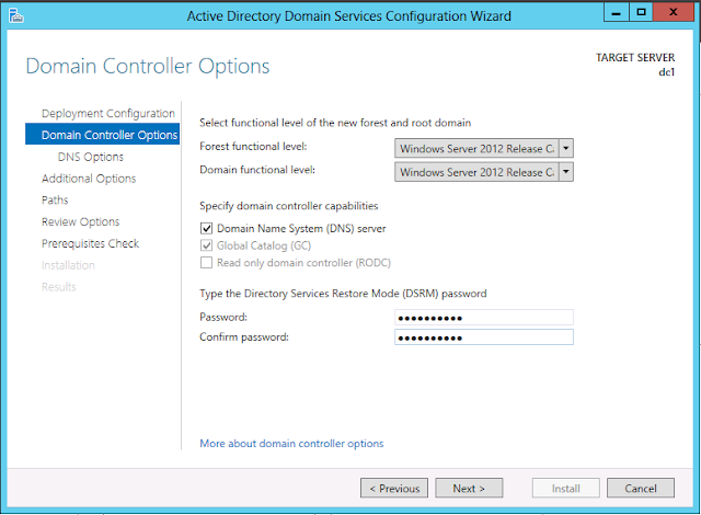 Windows Server 2012 active directory domain controller option