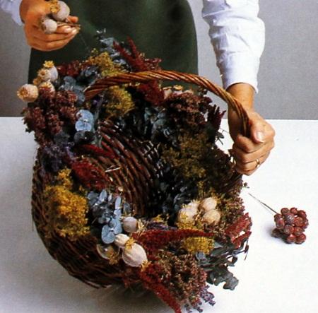 Decoracion con flores secas canasta floral - Decoracion con flores secas ...