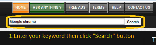"Enter your keyword then click ""Search"" button"