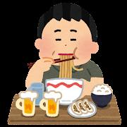 食べ過ぎの人のイラスト(男性)