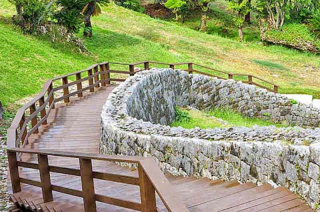 wooden stairway, Katsuren-jo, castle, stone walls
