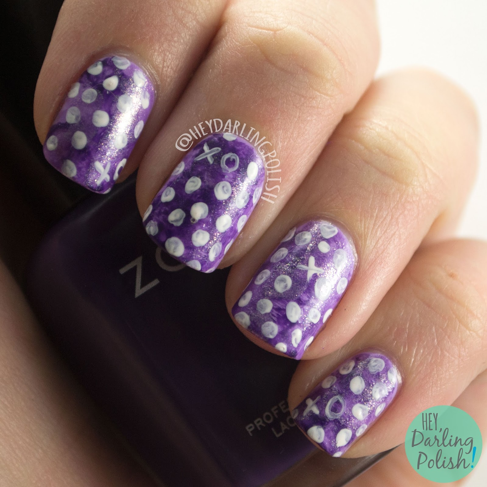 nails, nail art, nail polish, hey darling polish, white, polka dots, watercolor, purple, 52 week challenge