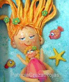 Cuadro Sirena y su hija
