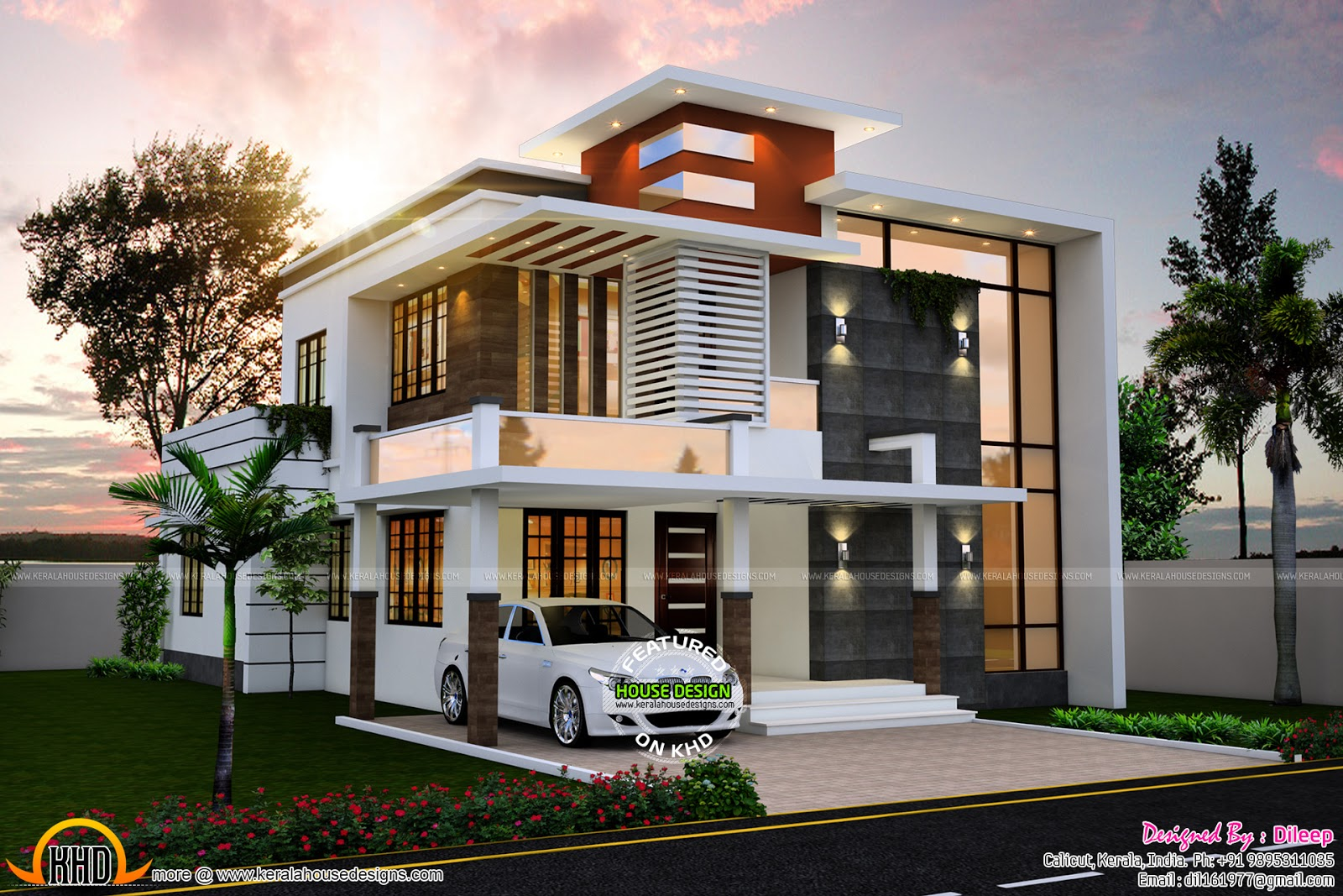 2194 sq ft nice contemporary house kerala home design for Modern style house plans