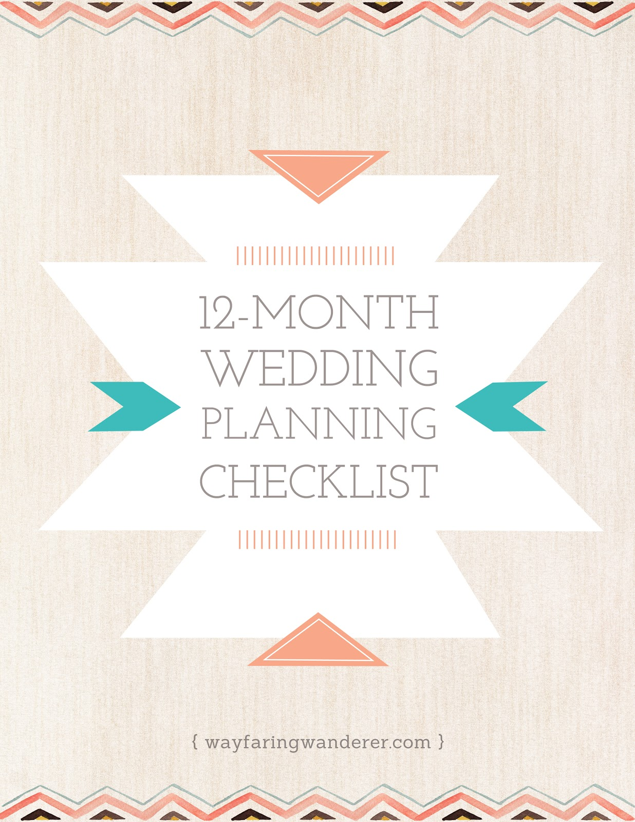 wayfaring wanderer 12 month wedding planning checklist free