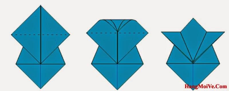 Bước 7: Ta gấp góc phía trên của tờ giấy theo chiều hướng xuống dưới ta sẽ được một hình như hình 3