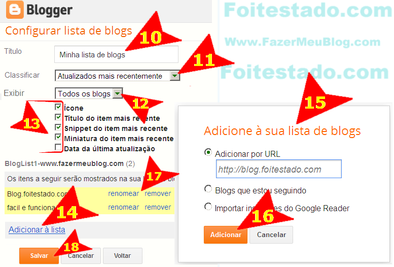 Adicionar sites preferidos em blogspot do blogger com nova interface atualizada