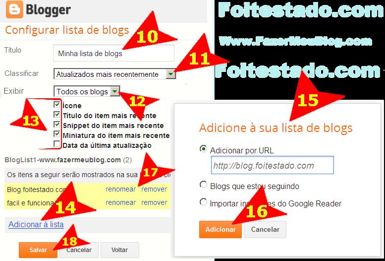 Adicionar sites preferidos em blogspot do blogger com nova interface atualizada