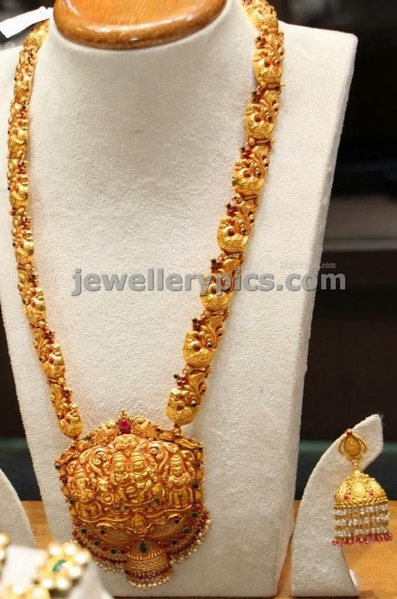 Nakshi Temple Jewellery Antique Peacock Haram Latest