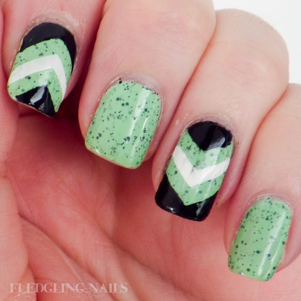 Fledgling Nails Nail Art Speckled Green Black And White Chevrons