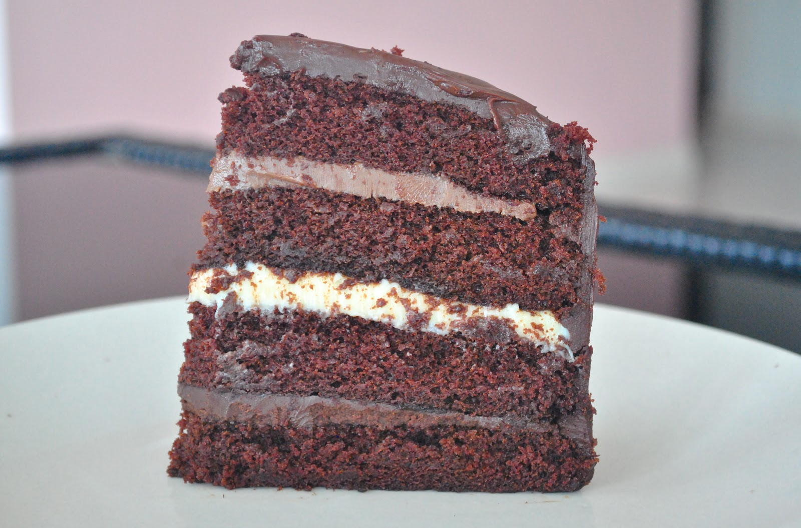 fridays with coco: triple chocolate ganache layer cake