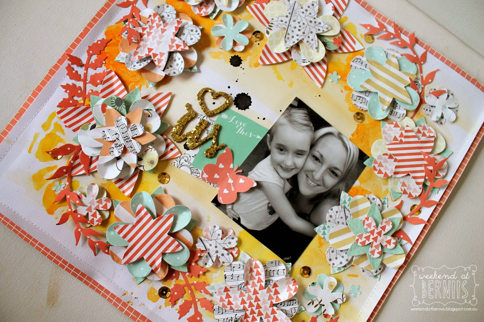 Love us - layout by Bernii Miller using Teresa Collins Nine & Co.