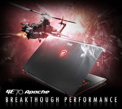 "MSI GE70 Apache Pro-012 - 17.3"" Gaming Laptop with Core i7-4700HQ, GTX860M with 2GB GDDR5 VRAM, DVD Rewriter and Windows 8.1"