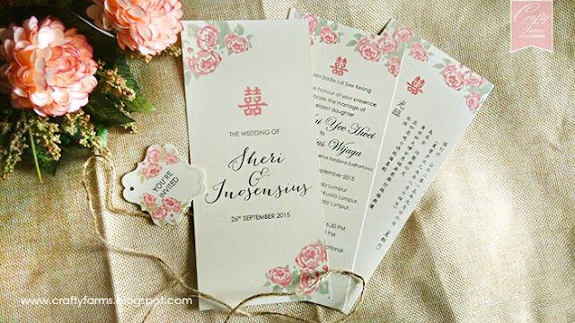Chinese Peonies Wedding Card Intercontinental Hotel Kuala Lumpur