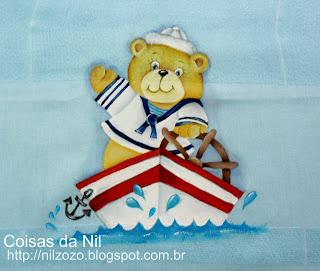 pintura de ursinho marinheiro no barco
