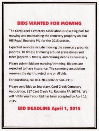 4-1 Mowing Bids Due For Card Creek Cemetery