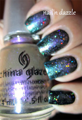 no plain jane, deviantly daring, chrome, china glaze, gradient, purple, green, holographic