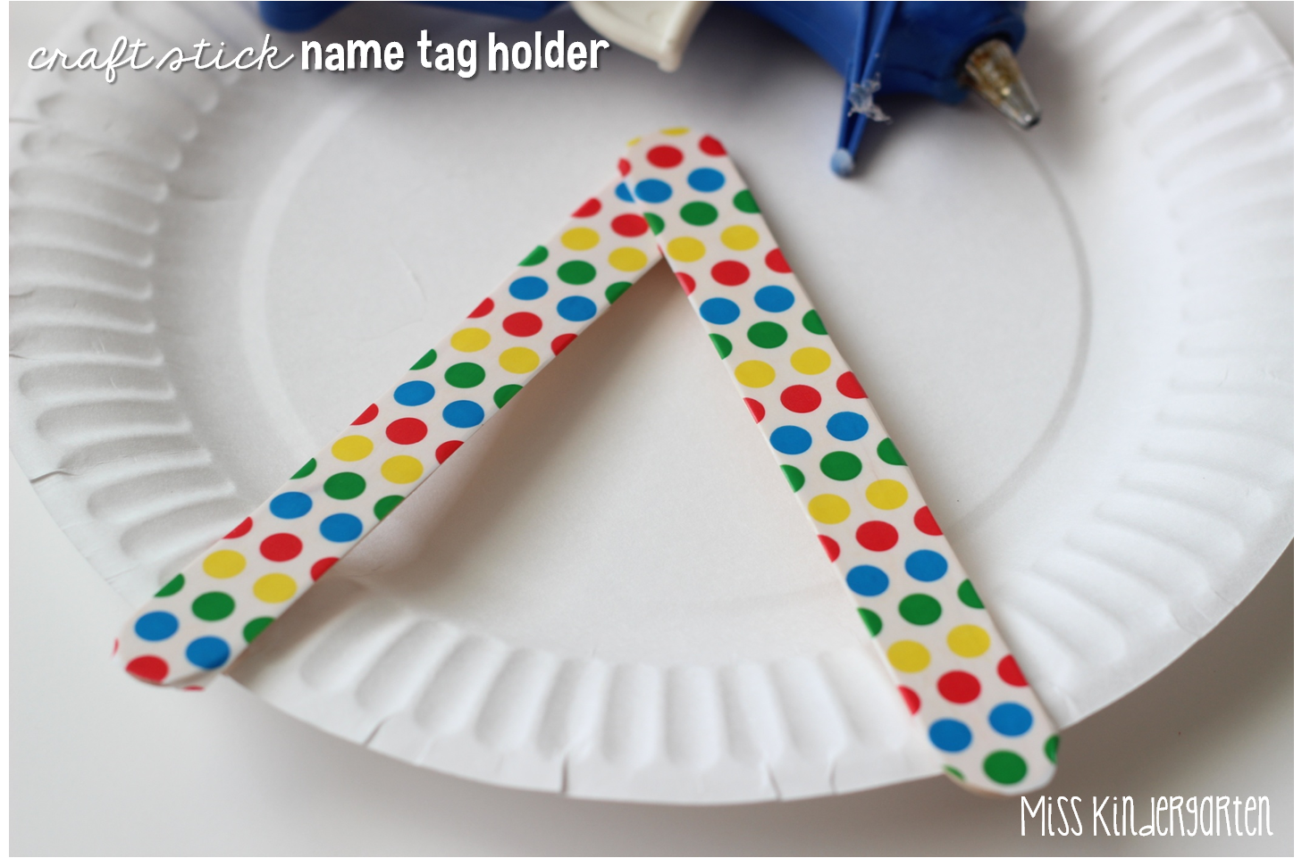 Name tag craft ideas - Lay Two Craft Sticks Down Like An Uppercase A And Hot Glue The Top Pieces Together