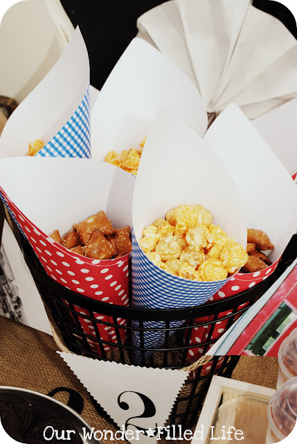 popcorn cones at a transportation tricycle bike bicycle birthday party ideas