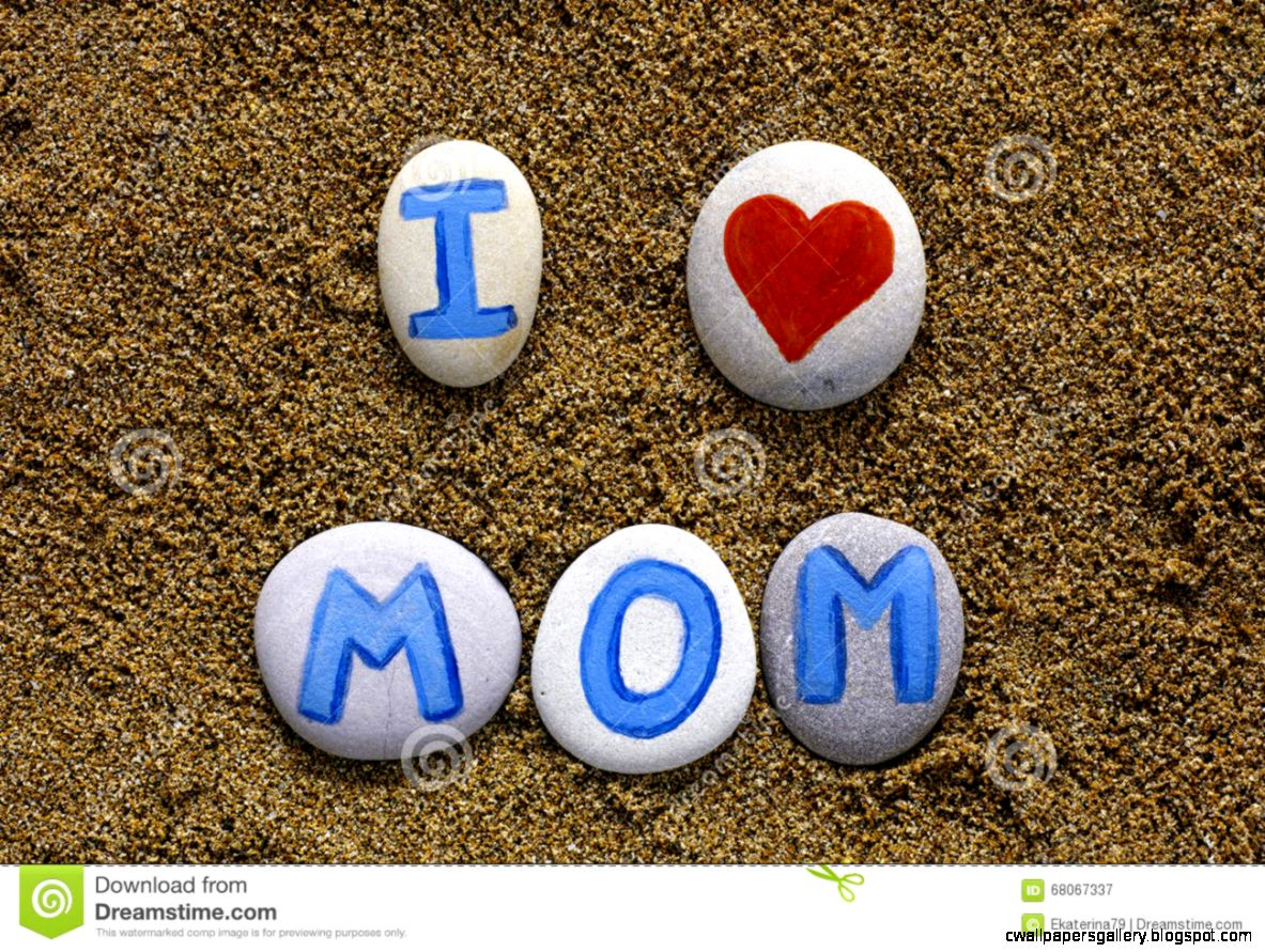 Words I Love Mom Spell Out From Stones With Letters Stock Photo