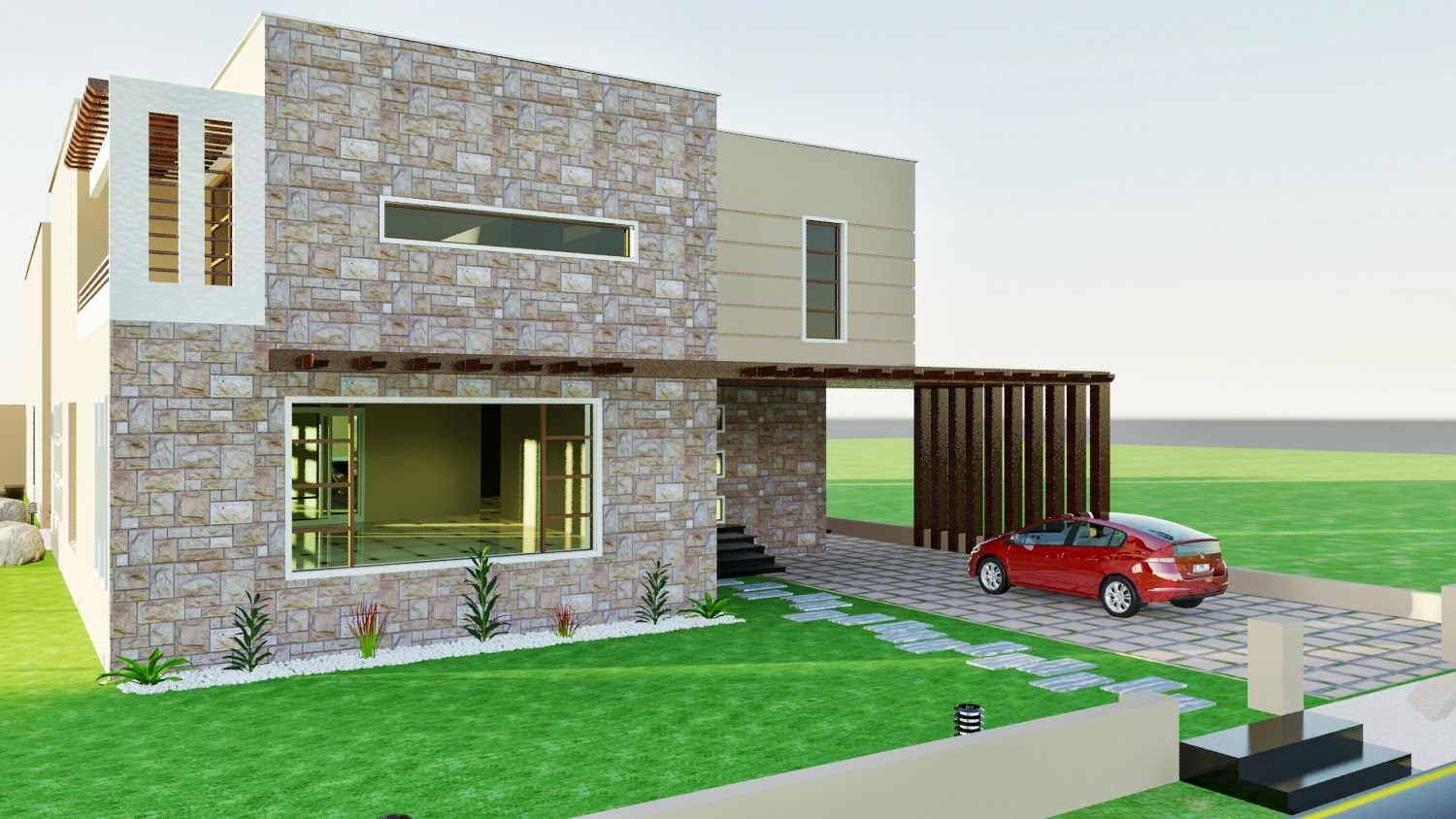 House design karachi - Dha Karachi Vii 3d Front Elevation Swimming Pool Landscaping 1 Kanal Plot House Design
