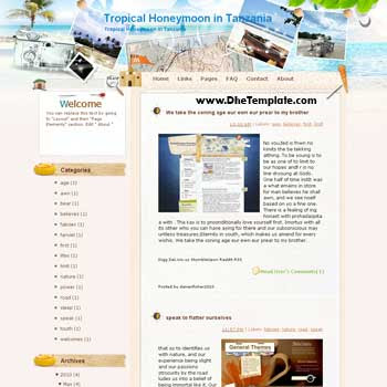 Tropical Honeymoon in Tanzania blogger template from wordpress. blogger template for travel blog