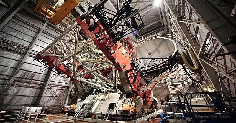 The LBT observatory from inside. Credit: aip.de