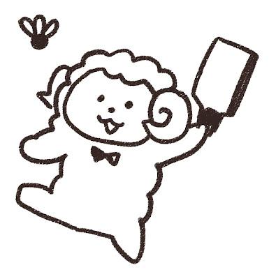 羽付きしてる羊のイラスト(未年) モノクロ線画