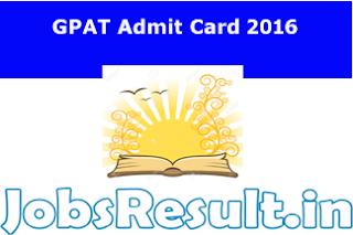 GPAT Admit Card 2016