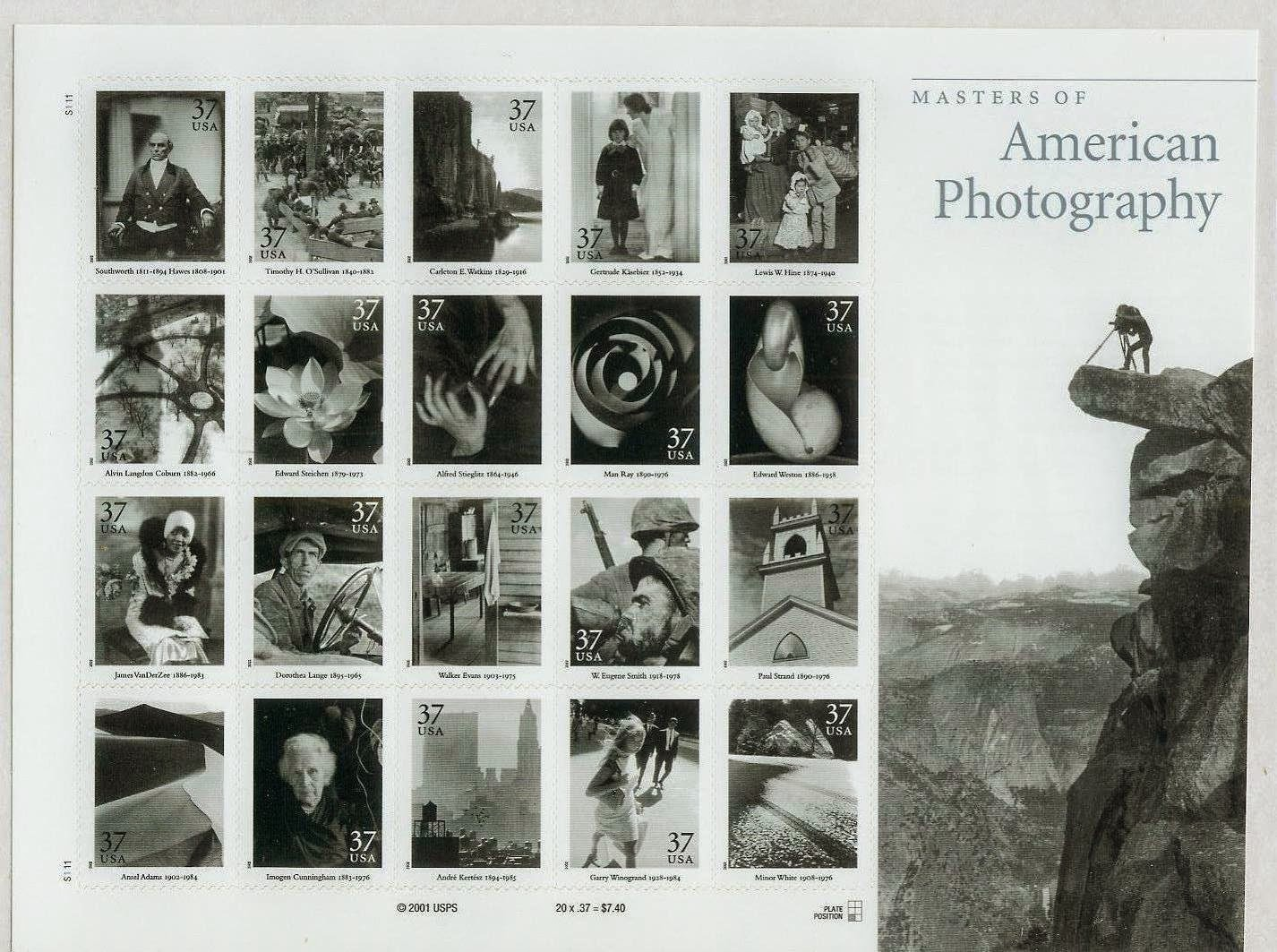 Masters of American Photography Collectible Stamp Sheet: The Postal Service issued twenty 37-cent Masters of American Photography commemorative stamps on June 13, 2002, in San Diego, California. The pane of twenty stamps designed by Derry Noyes of Washington, DC, went on nationwide June 14, 2002...