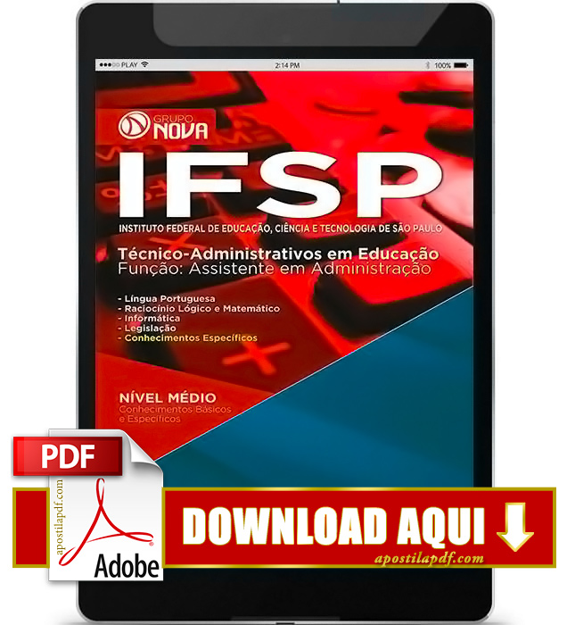 Apostila IFSP 2016 PDF Download Assistente em Administração