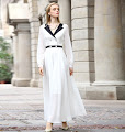 New 2016 Long Sleeve Black Collar and Waist Band White Chiffon Maxi