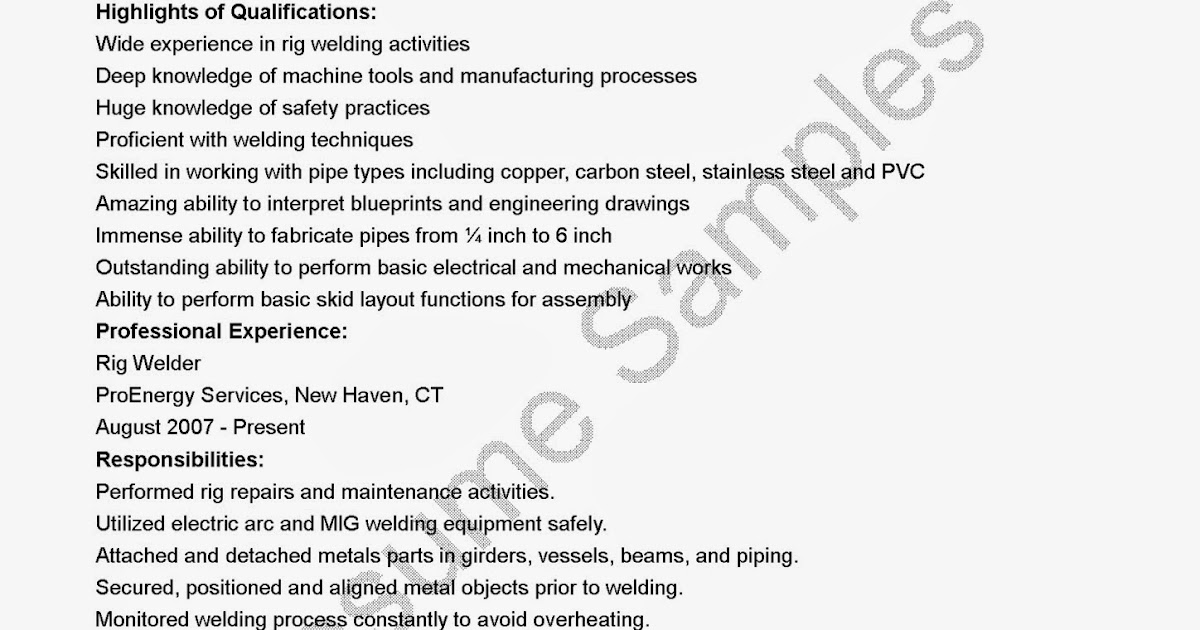 resume samples  rig welder resume sample