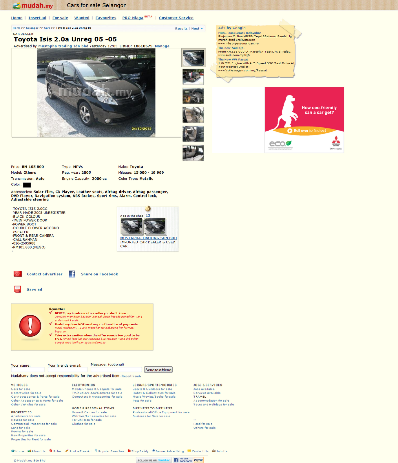 Recently saw an advert on mudah my about the full spec toyota isis u selection this is the highest grade isis offer by toyota double blower and power door