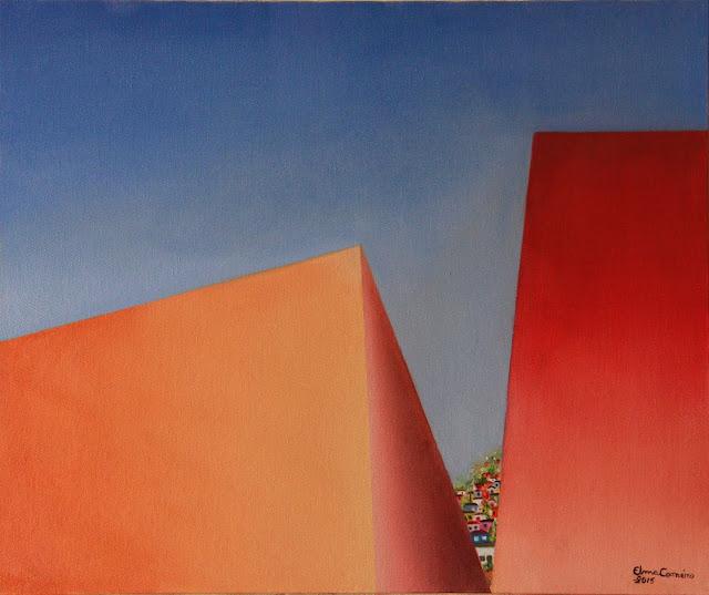 Casinhas entre a fresta de dois paredões - Arte geométrica - Elma Carneiro