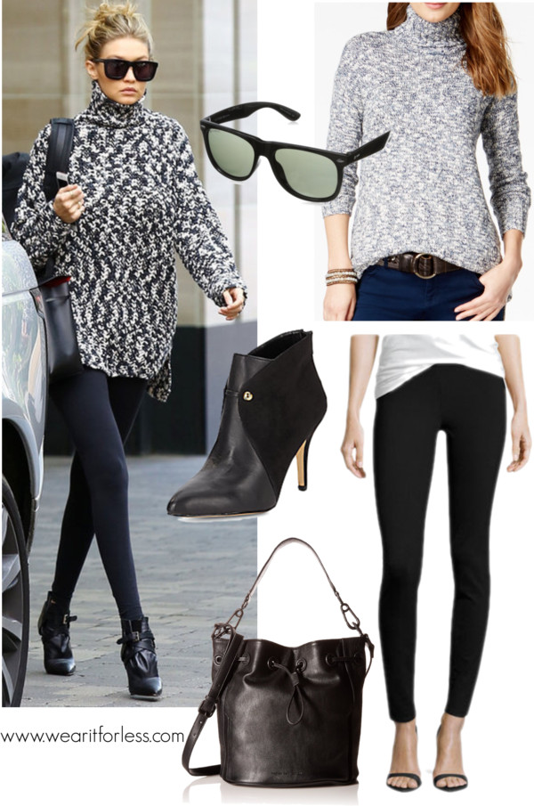 Max Studio Solid Ponte Leggings $41 (regular $98), here is an awesome deal on leggings if you can wear an XS // American Living Marled Turtleneck Sweater $27 (regular $70), this sweater costs a little more, but is really cute too! // Saks Fifth Avenue Holly Leather Paneled Booties $60 (regular $185), these Ellen Tracy booties (only limited sizes) would be perfect too for only $40 (regular $119) // French Connection Paige Drawstring Bucket Bag $71 (regular $98) // Dot Dash Wayfarer Sunglasses $22 (regular $33)