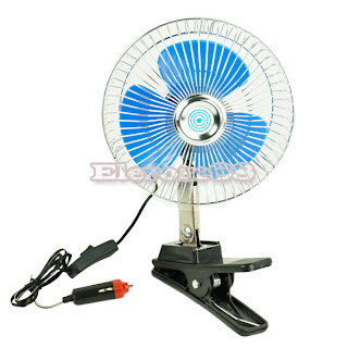 ElR8 Car Charger 12V Powered Car Truck Vehicle Oscillating Fan Cab Fan Equipment