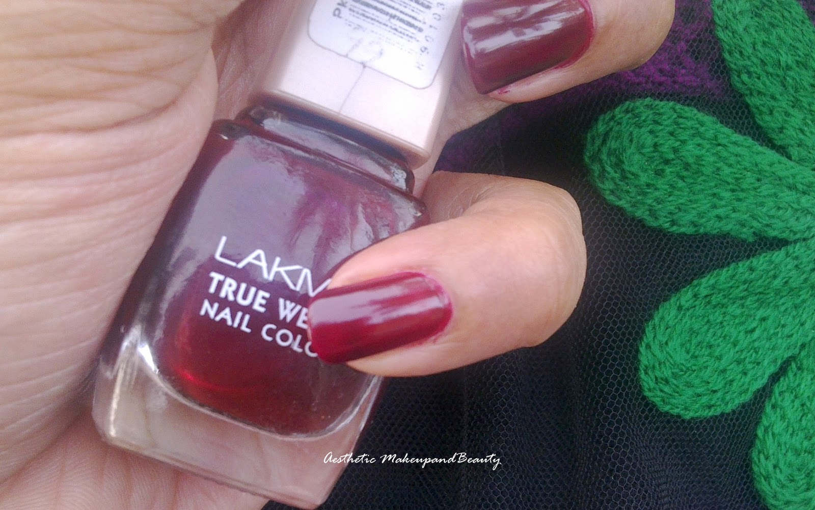 Aesthetic: Lakme True Wear Nail Color - Deep Blush Maroon 403 Review