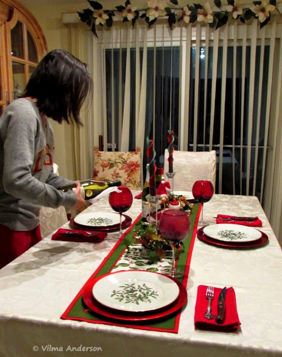 Dinner table setup for Christmas dinner