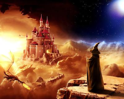 Terrorifico lugar en tinieblas con dragones y brujas