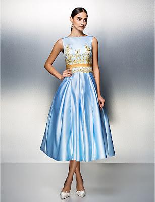 Vestido de Fiesta Azul Celeste Bateau Satinado