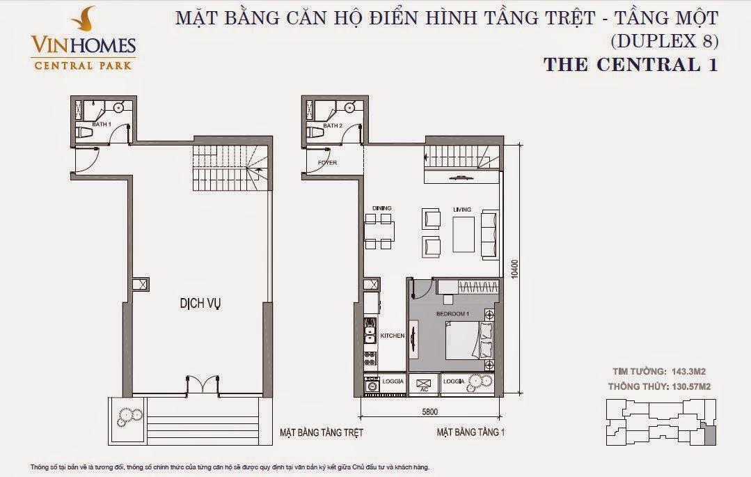 Căn hộ Vinhomes Central Park 1 - căn hộ Duplex số 08, tầng 1