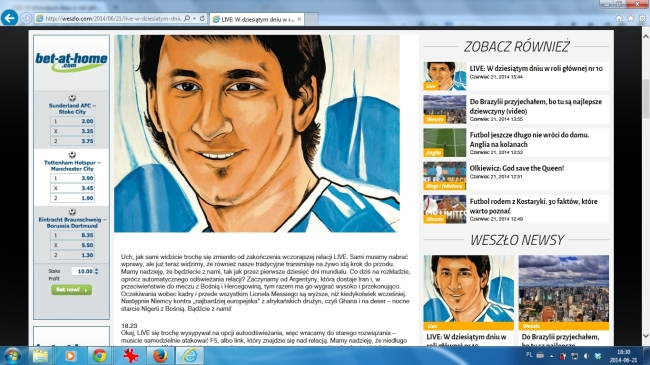 Nowy wygląd Weszlo.com na przeglądarce Internet Explorer